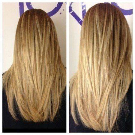 Lange Haare Mit Av Form Schnitt An Der Ruckseite Frauen Frisuren