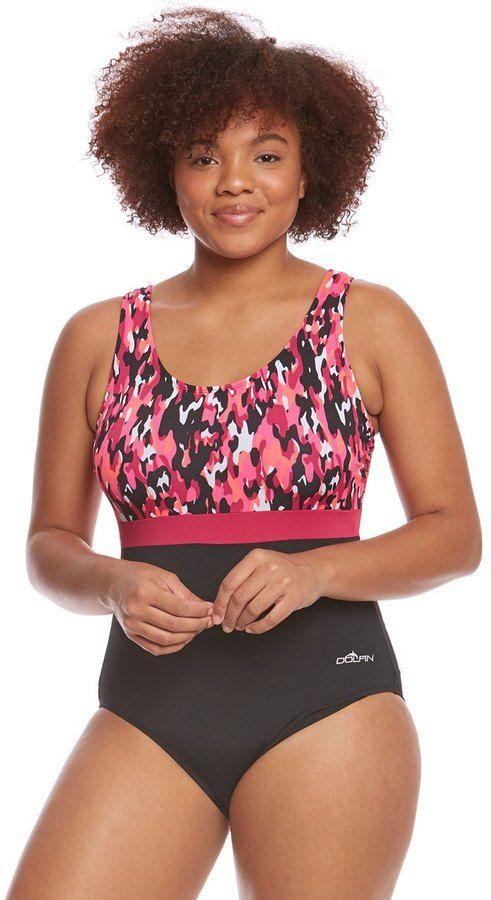 05b6e1e3bd5 Dolfin Aquashape Women s Plus Size Camo Chic Moderate Scoop Back Color  Block One Piece Swimsuit 8162881