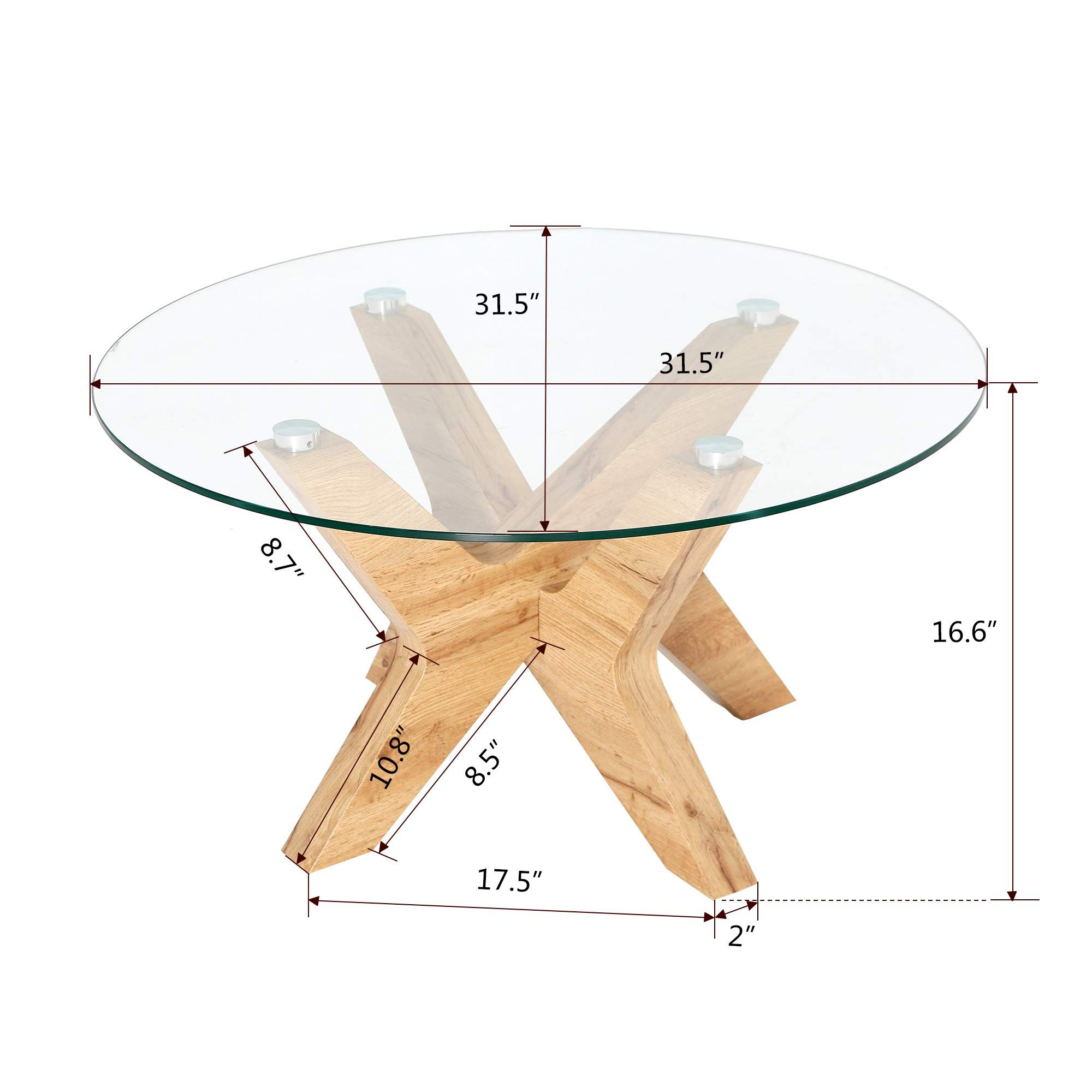 Ivinta Glass Coffee Table Round Industrial Design With Wood Frame Glass Coffee Tables Living Room Living Room Coffee Table Round Glass Coffee Table Living Room [ 2000 x 2000 Pixel ]
