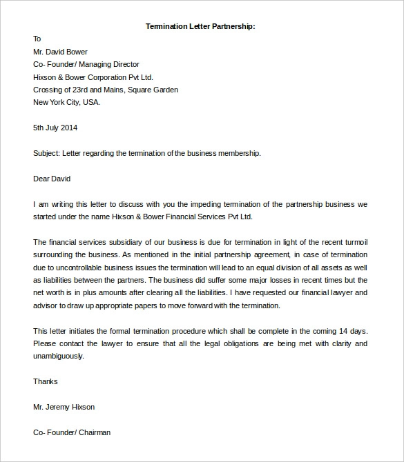 14+ Termination Letter Templates Free word document