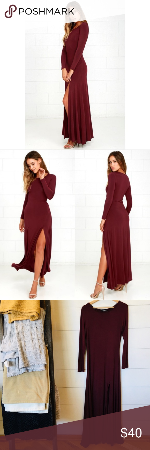 b05c6eeb0fe LULUS Swept Away Burgundy Maxi Dress w  High Slit Excellent used condition  and from a