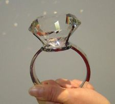 Big Fake Diamond Rings For Decoration 80mm Super Large Crystal
