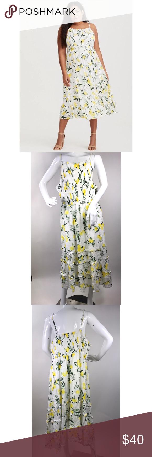 27aa96807fe7 Torrid Size 3X Sleeveless Lemon Print Dress Torrid Size 3X Spaghetti Strap Dress  White Lemon Print