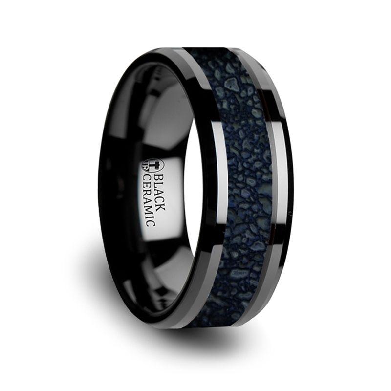 Thorsten Kony Comfort Fit Lightweight Titanium Titanium Rings for Men Black Titanium Polished Beveled Edges Black Walnut Wood Inlaid Men/'s Wedding Ring 8 mm