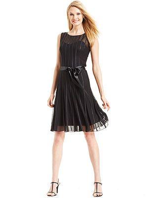 Sl Fashions Sleeveless Illusion Stripe Belted Dress