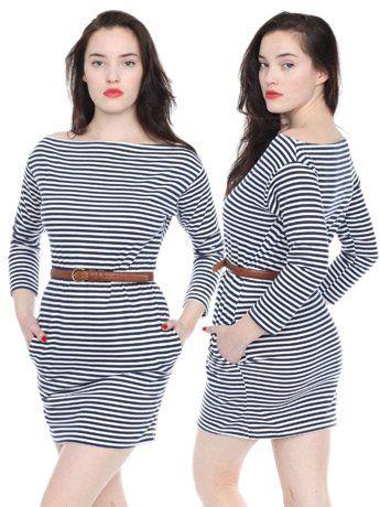 pin striped boatneck dress