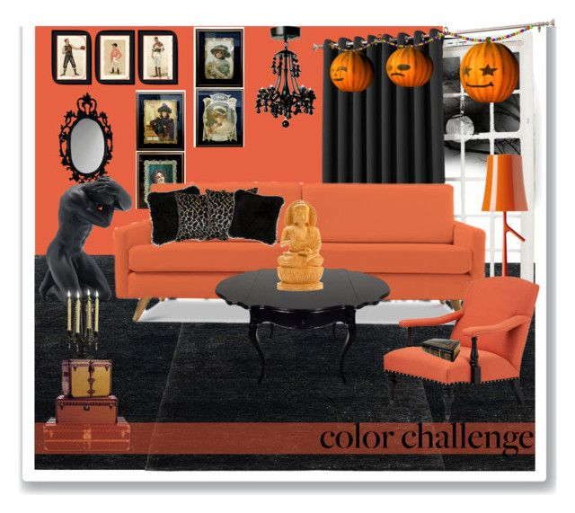 """""""#OrangeandBlack #HomeDecor #ColorChallenge"""" by prigaut ❤ liked on Polyvore featuring interior, interiors, interior design, home, home decor, interior decorating, Sun Zero, Joybird Furniture, Natural by Lifestyle Group and Soicher Marin"""