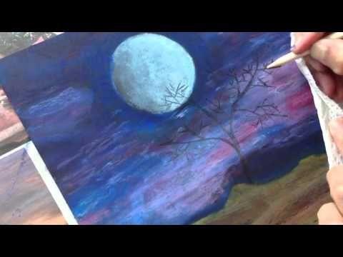 ClassPlan - Moon night oil pastel on black card stock ...