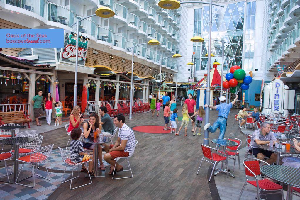 Royal Caribbean's Oasis of the Seas has 7 distinct neighborhoods, including a Boardwalk! #travel #cruise #oasidoftheseas #boardwalk