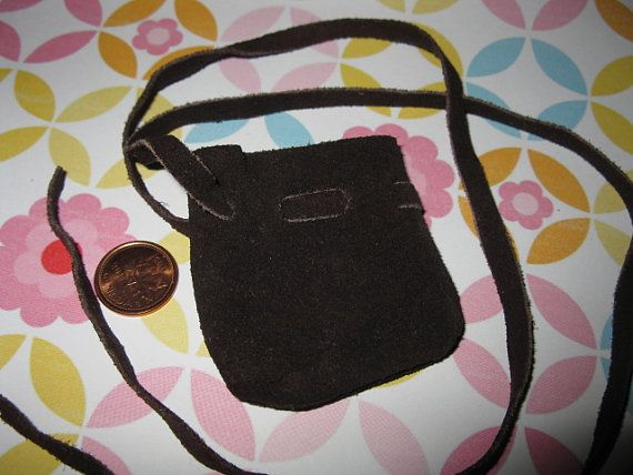 Brown Suede Mini Drawstring Bag One 1 bag by MagickalGoodies, $5.30