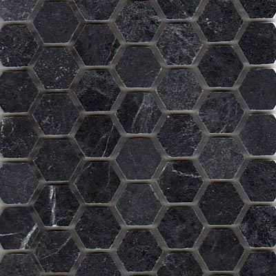 Matte Black 2 Hexagon Tile Grey Grout