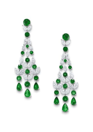 d11ddda8b Cartier diamond chandelier earrings | the jewelry house has created a  shower of diamonds and emeralds in a .