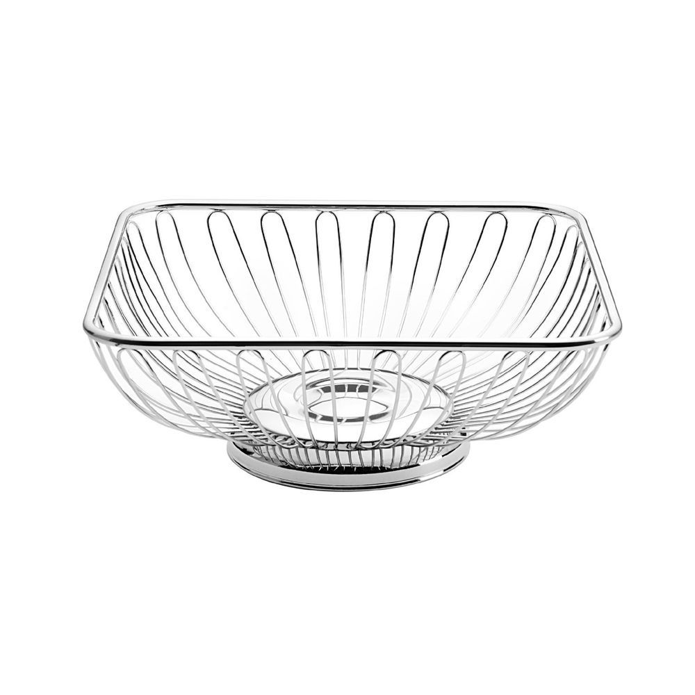 Towle Living Square Wire Bread Basket Serving Bowl Silvertone Metal ...