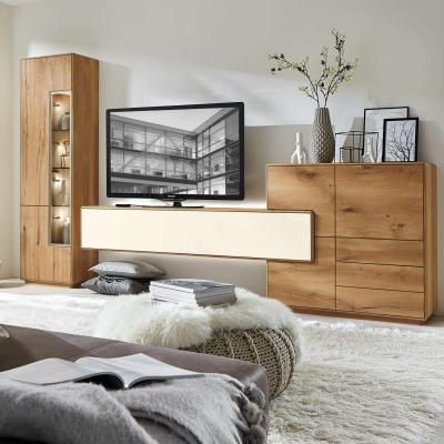 w stmann wohnwand sineo bohleneiche wohnzimmer. Black Bedroom Furniture Sets. Home Design Ideas