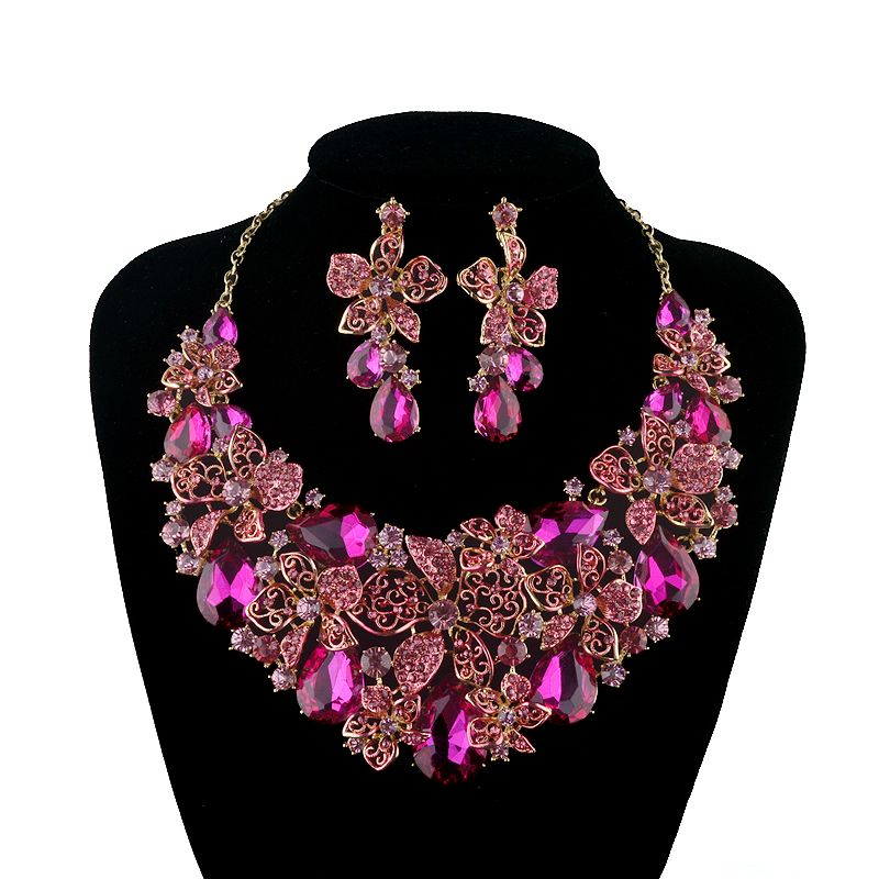 Bridal wedding Necklace Earring Jewellery Set party Prom Crystals