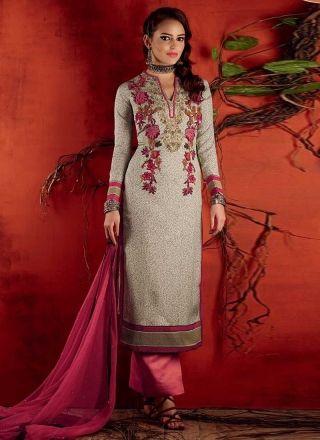 ac5c07a189 Amazing Grey And Pink Silk Printed Designer Work Pakistani Dress http://www.