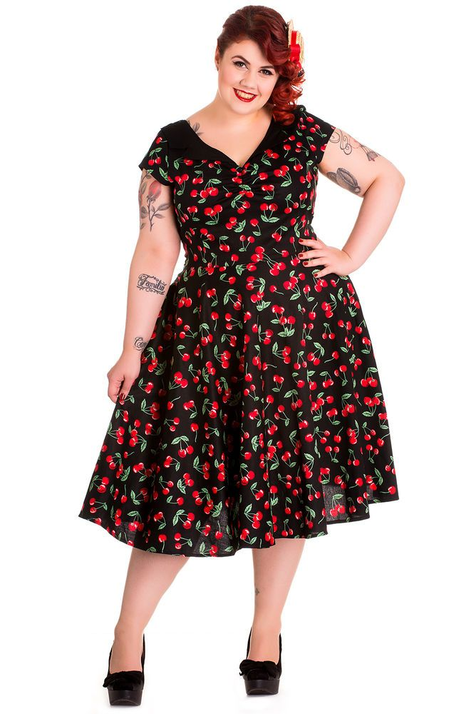 Hell Bunny Cherry Pop 50s Dress Black Red 18 22 Plus Size
