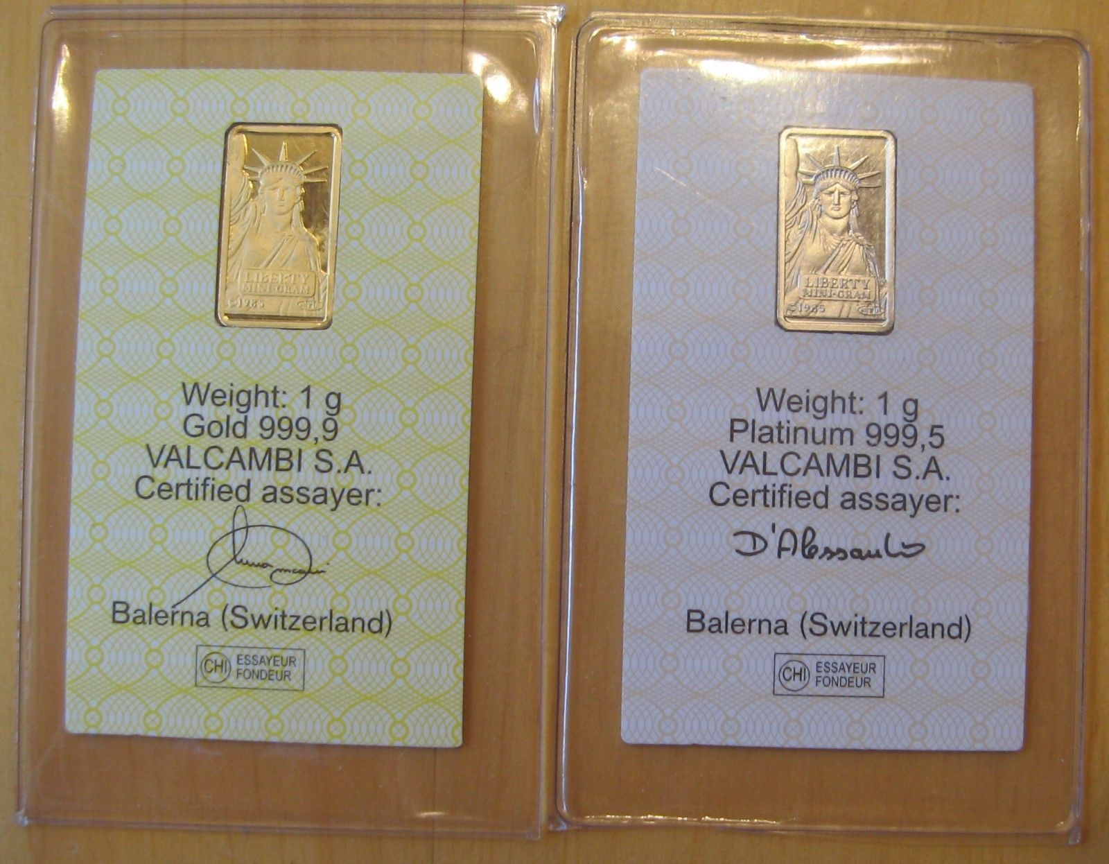 gram gold bar gram platinum bar credit suisse in assay cards