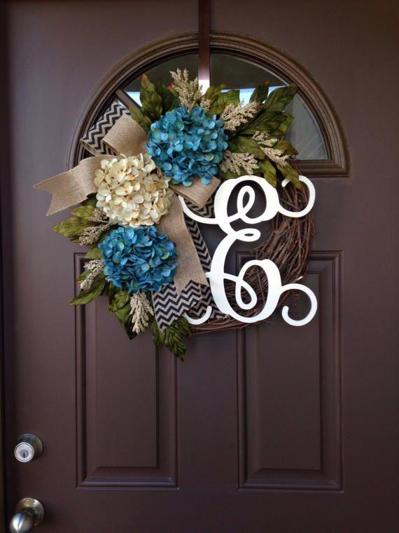 Hydrangea Monogram Door Hanger