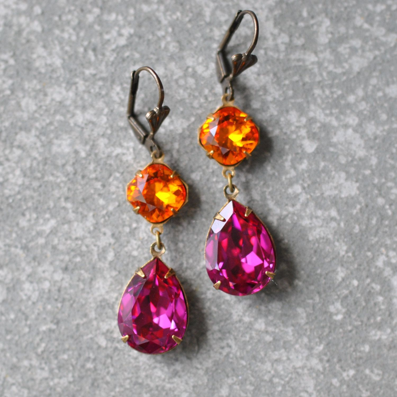 Long Pink Fuchsia Earrings Fuchsia Chandelier Earrings Oxidized Silver Earrings Stud Chandelier Earrings Women Fuchsia Crystal Earrings