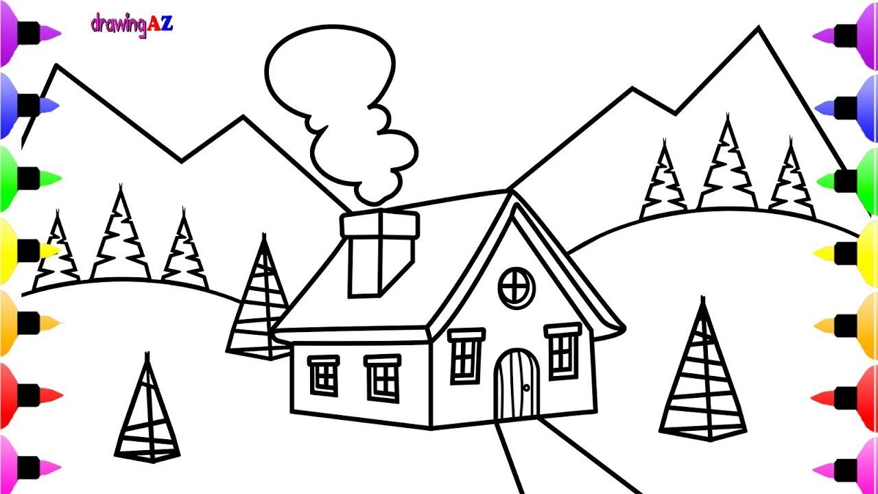 Christmas Scene Coloring Page Christmas House Coloring Book For Kids Coloring Pages Disney Coloring Pages House Colouring Pages