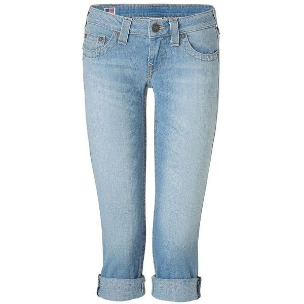 TRUE RELIGION Lizzy Jamestown Light Blue Washed Capri Jeans (185 AUD) ❤ liked on Polyvore featuring jeans, pants, bottoms, capris, shorts, low rise skinny jeans, stretch skinny jeans, rolled up jeans, blue jeans and short jeans