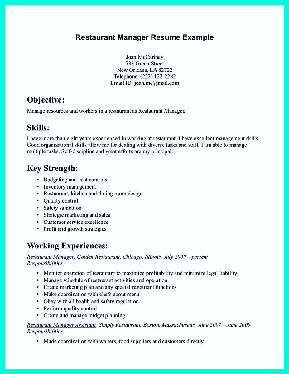 Assistant Restaurant Manager Resume Restaurant Resume Server  Httpresumesdesignrestaurant .
