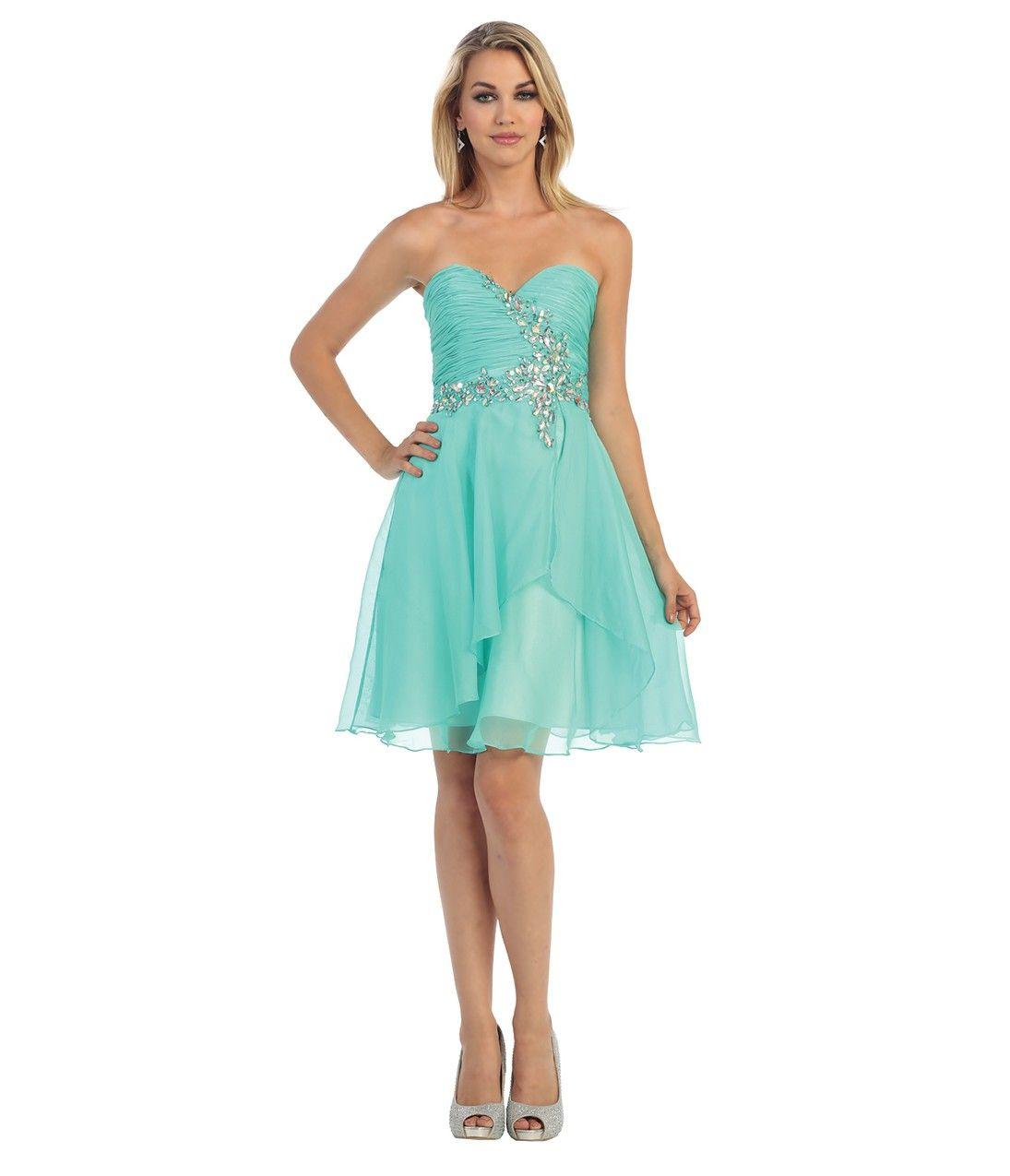 Green chiffon pleated embellished strapless sweetheart short dress
