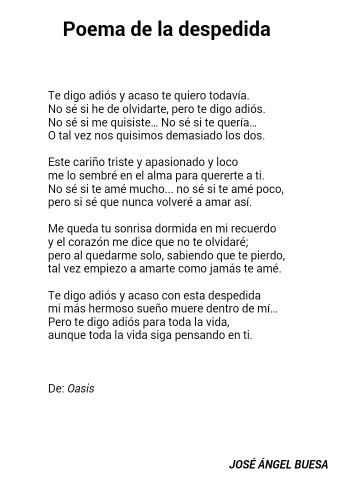 Poema De La Despedida Jose Angel Buesa Poemas Poemas Jose