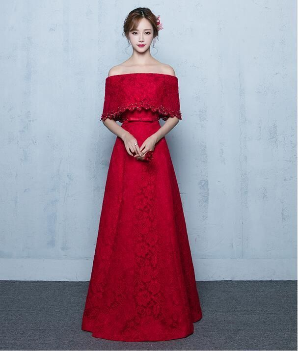 Elegant Wine Red Lace Floral Diamante Long Gown Ladies Formal Prom