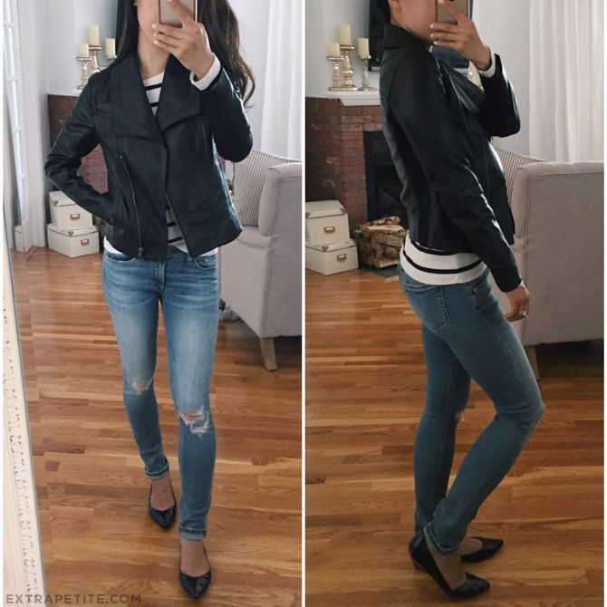 Extra Petite   Petite Fashion, Style Tips and DIY. Striped long-sleeved shirt+ripped jeans+black flats+black leather jacket. Fall outfit 2016
