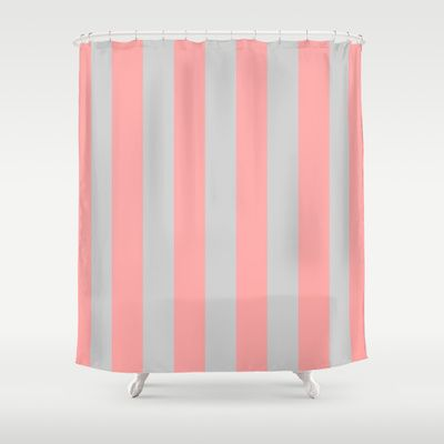 Stripe Vertical Gray Coral Pink Shower Curtain