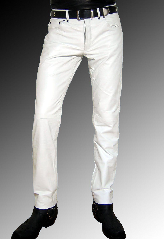 c9495195 Men Leather Jeans white Leather Pants white Trousers Men, Men dress ...