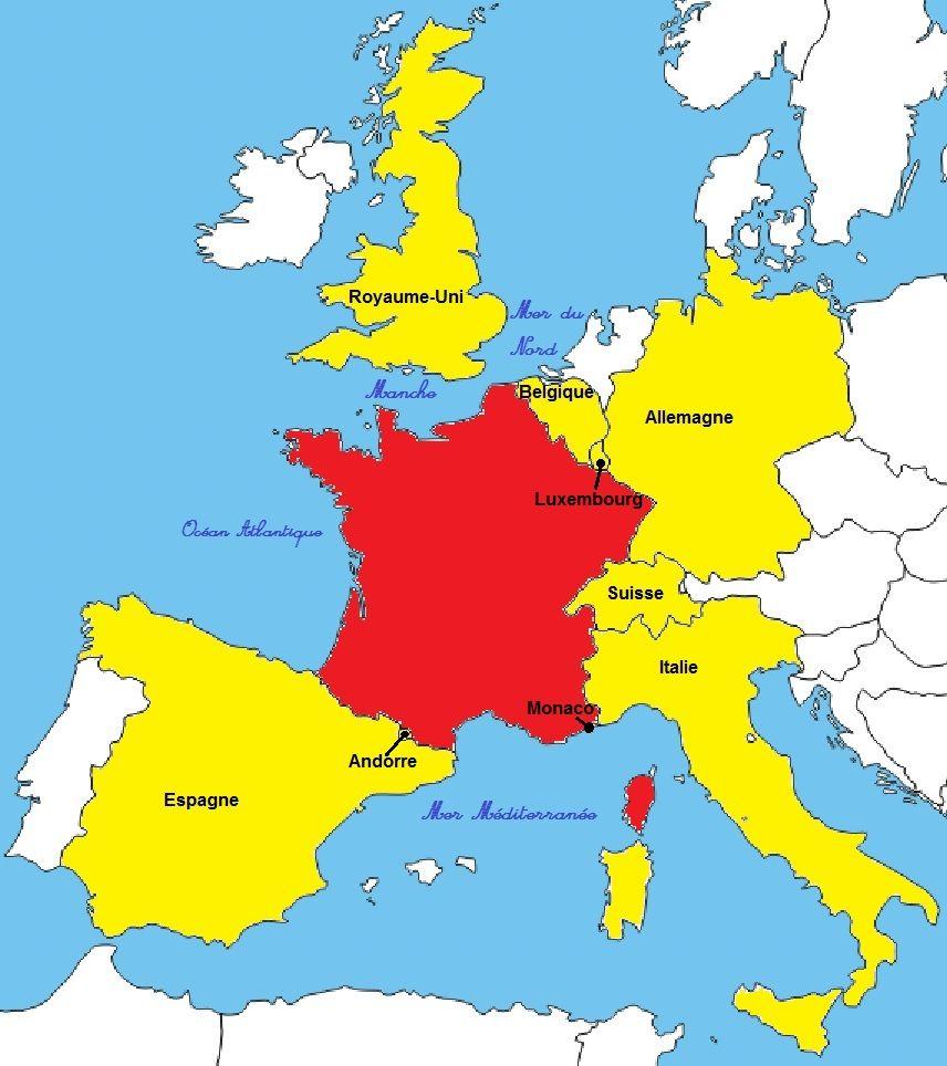 Carte Des Pays Voisins De La France   popkensburg