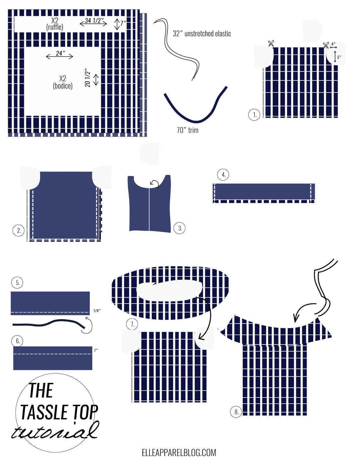 THE OFF THE SHOULDER TASSLE TOP TUTORIAL   Costura, Patrones y Blusas