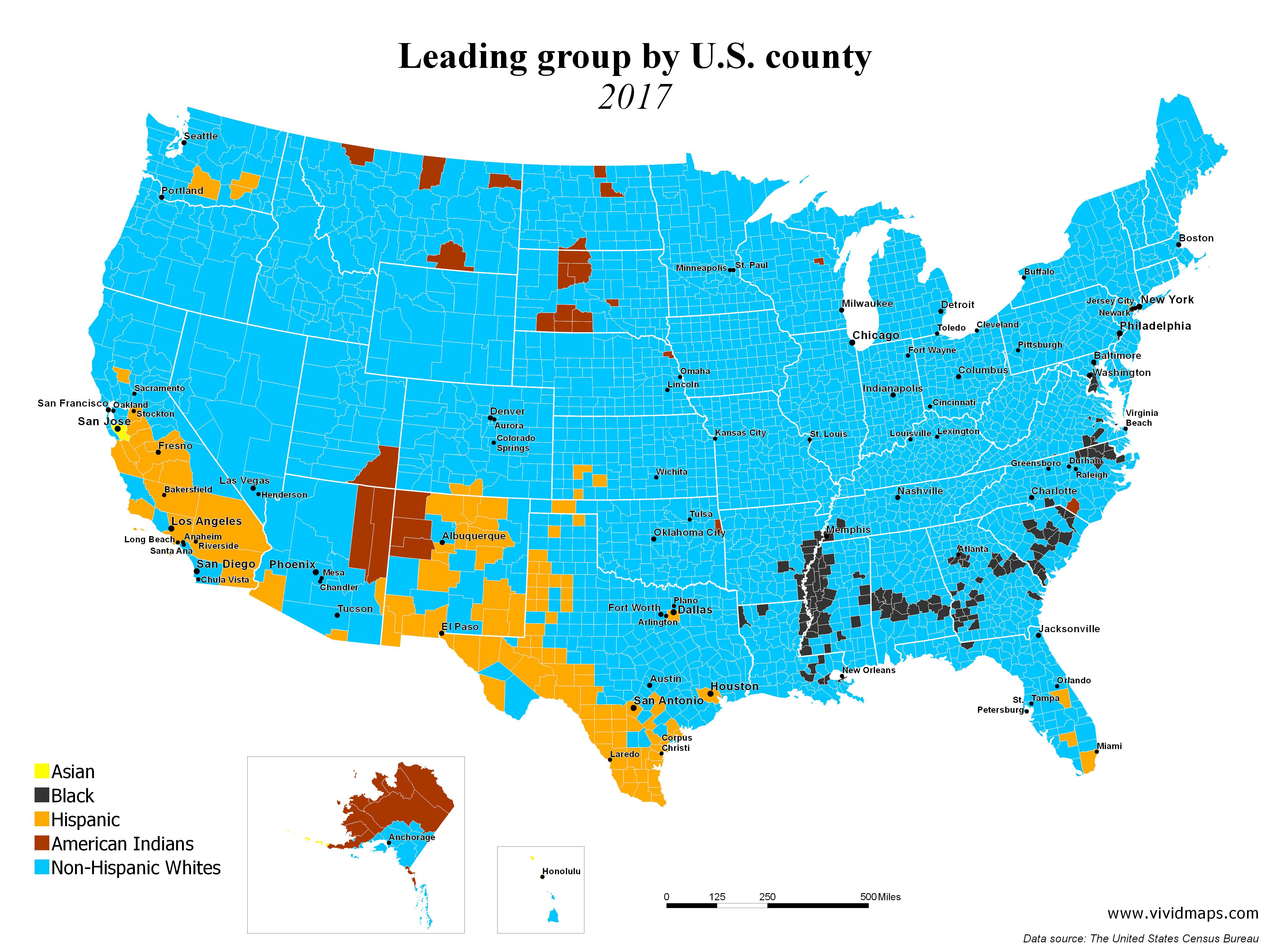 Leading group by U.S. county (1990 - 2017 | United States ...