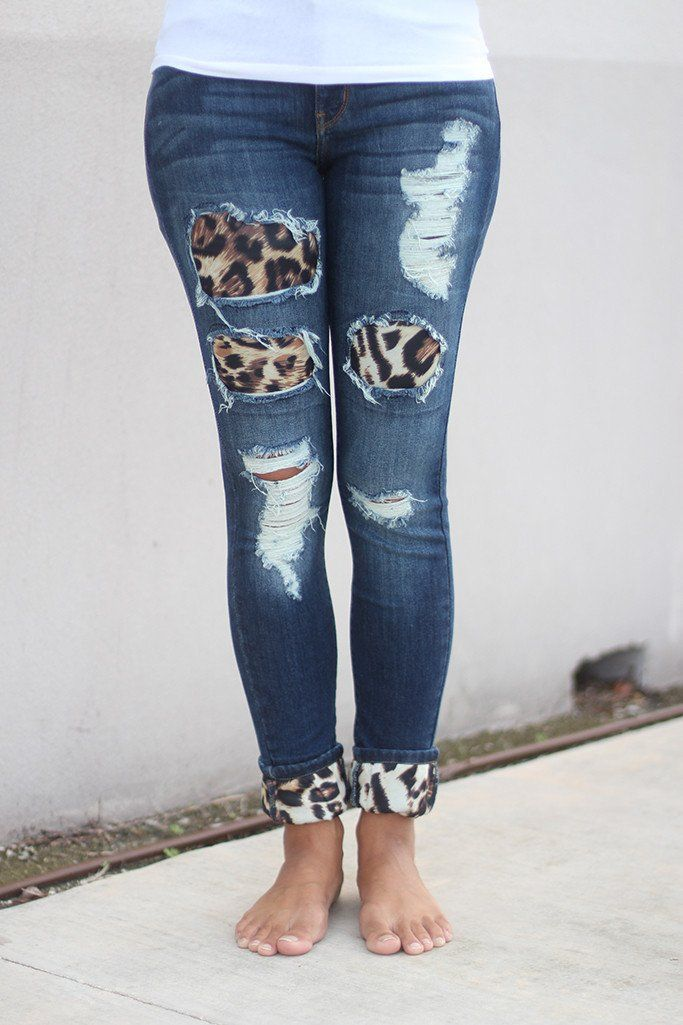 e6a7e10a43746 Show your fierce side in these must have Denim Jeans With Leopard Patches!  You ll love finding new ways to wear them! Pair with any of our solid tops  for a ...