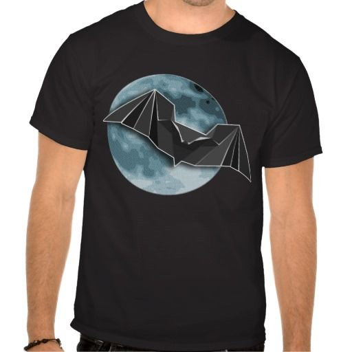 Origami Paper Bat with Full Blue/Yellow Moon Tee Shirt