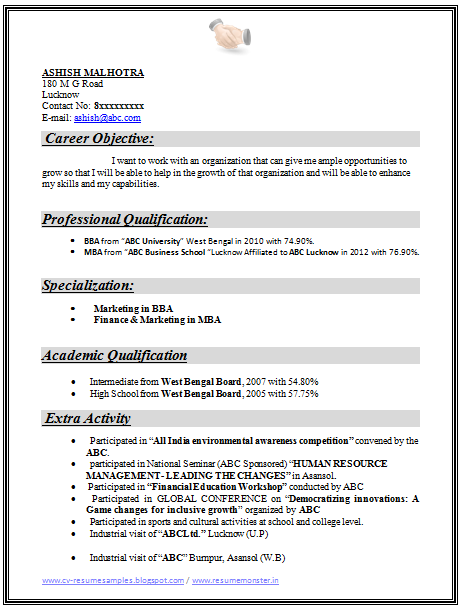 Example Template Of An Excellent MBA Finance Marketing Resume Sample For Freshers With Great Industrial Exposure Job Profile And Career Objective
