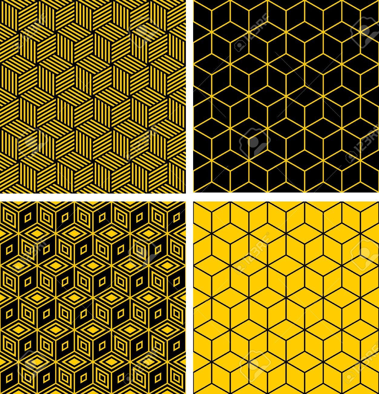 Illustration of Seamless patterns set. Geometric textures with optical  illusion. vector art, clipart and stock vectors.