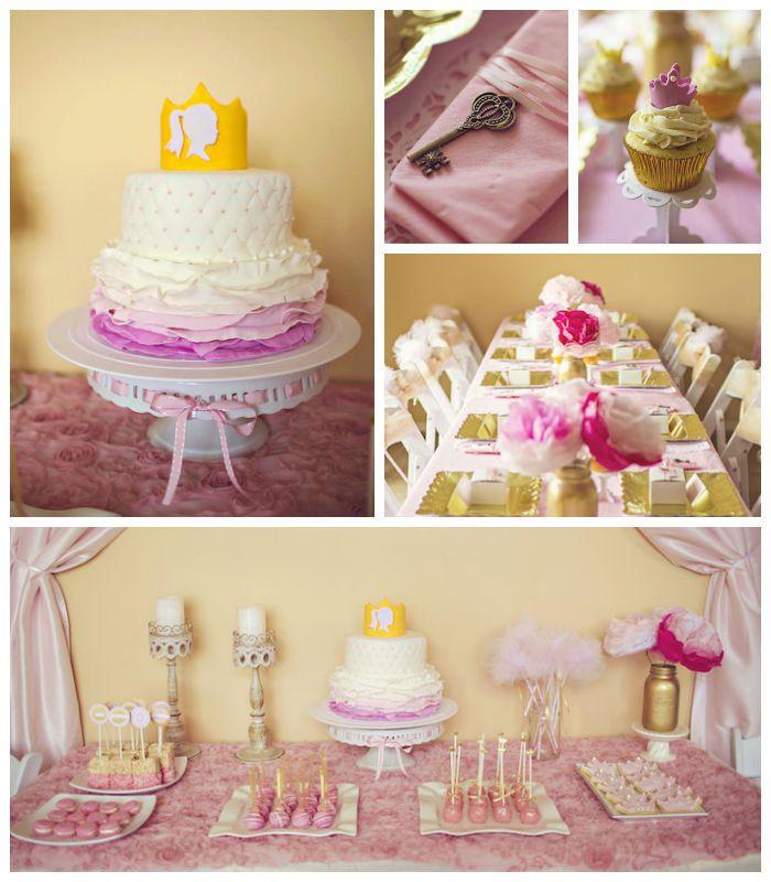 Dorado y rosa para una princesita cumplea era ideas para - Decoracion de cumpleanos rosa y dorado ...