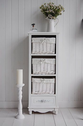 Rose 4 Drawer Tall White Storage Cabinet For Family Bathroom