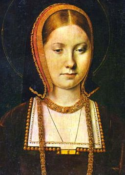 Catherine of Aragon, (bn. 1485) daughter of Ferdinand V of Aragon and Isabella I of Castile.  She first married Arthur Tudor, Prince of Wales in 1501 but his death a year later left her a widow, in 1509 she married Henry VIII.  She bore several children but only Mary I survived into adulthood.  Henry VIII annulled their marriage in 1533 in order to marry Anne Boleyn.  Katherine died in 1536 probably of cancer.