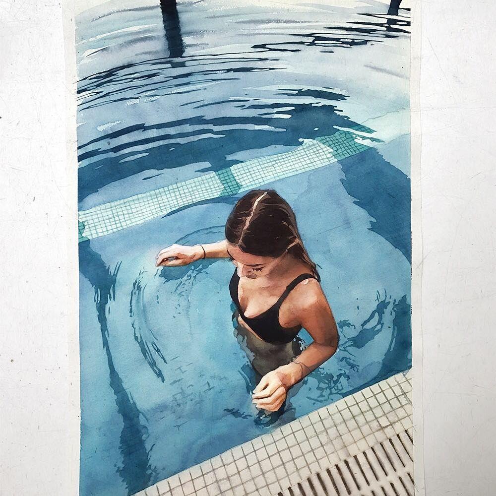 Quinta Feira Aquarela Watercolor Pool Pintura De Paisagem