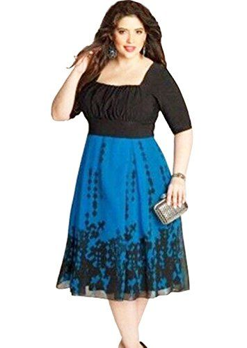7bc3ef71a21 Pin by kaywen on women's 3/4 sleeve V-Neck party Dress | Plus size ...