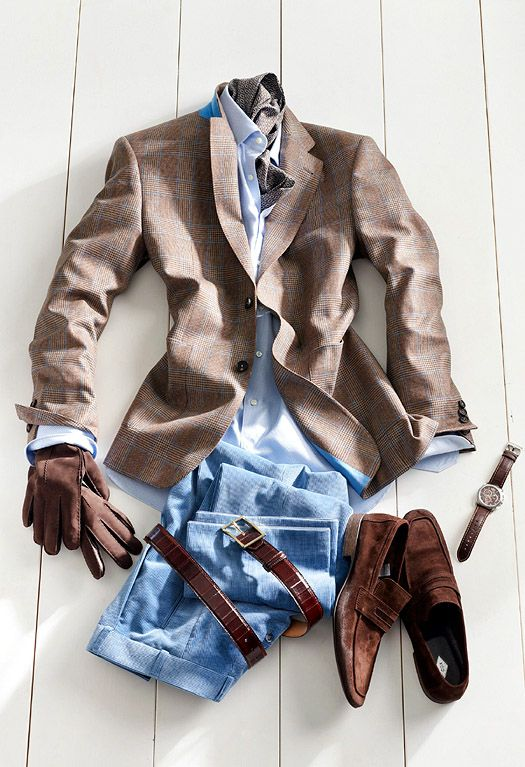 Men's style combo. Ceinture : Daim marron. Chaussettes : Falke cachemire rouge. Chemise : Van Laak bleue ciel. Lunettes : Persol écaille. Montre : JL Or, croco marron. Pantalon : Jean Levi's 501. Souliers : 472 Weston veau velours marron. Veste : Paul Smith Lin marron clair.