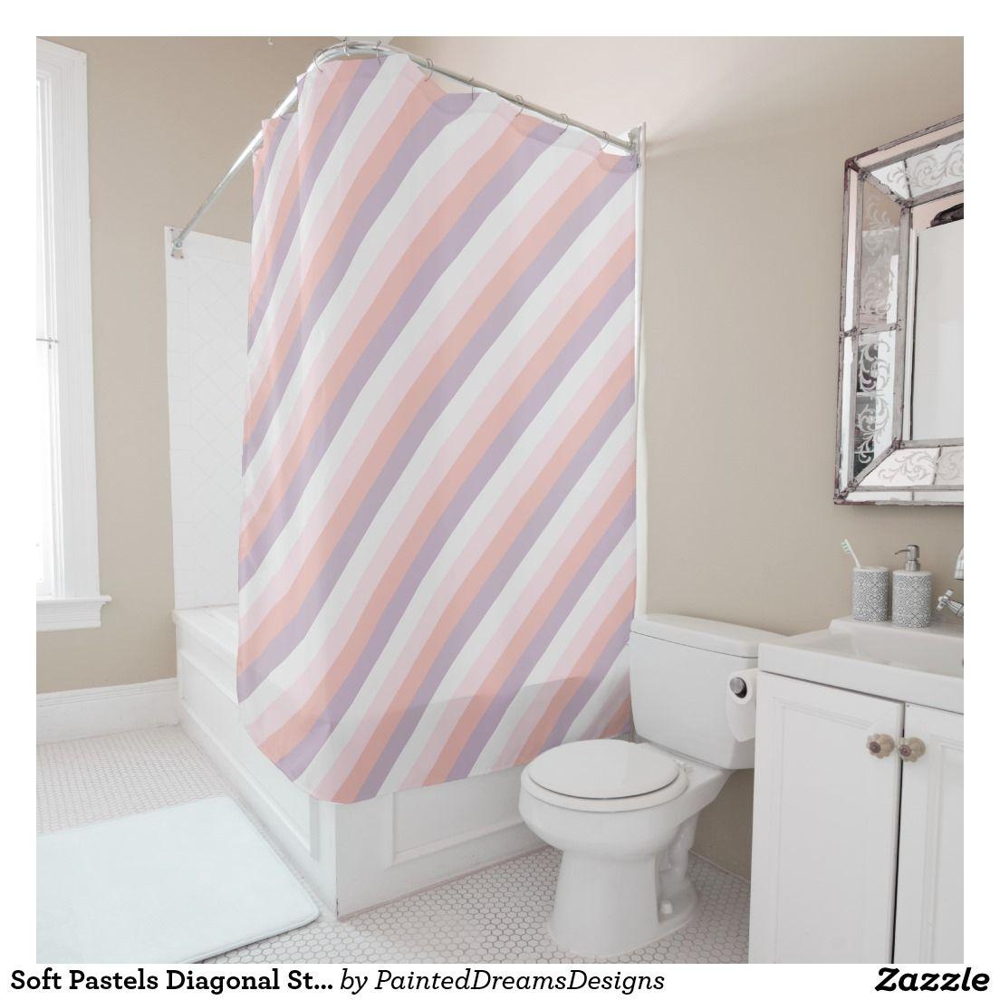 Soft Pastels Diagonal Stripes Shower Curtain | Bathroom Decor ...