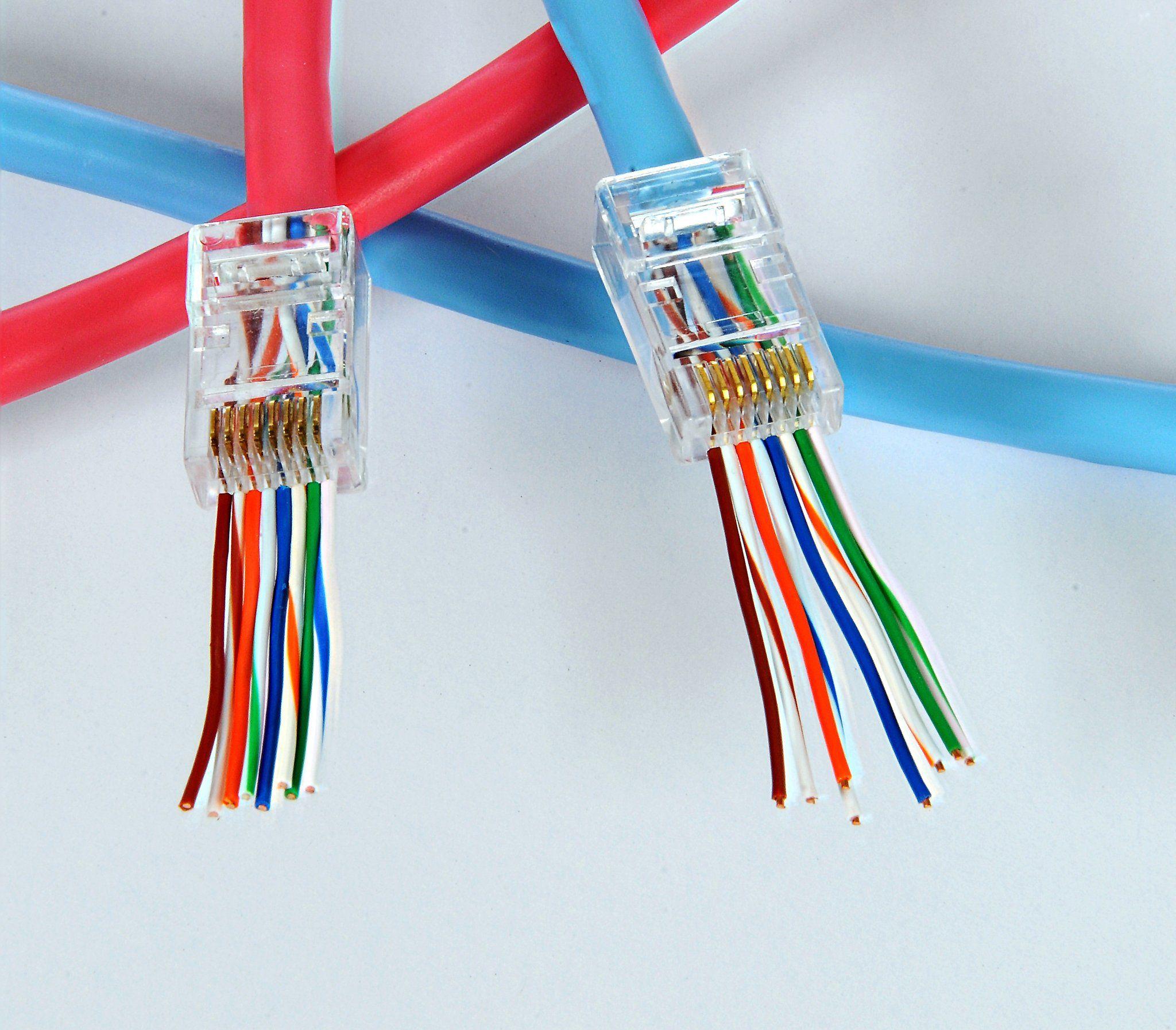50PCS Modular Plug Network Cable LAN Connector Plug End 8P8C CAT6 RJ45