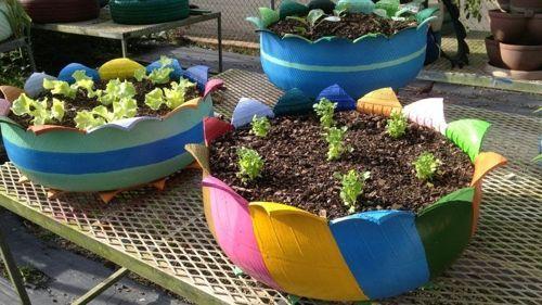 maceta-de-neumatico-para-el-jardin Jardin Pinterest Neumaticos - maceteros para jardin
