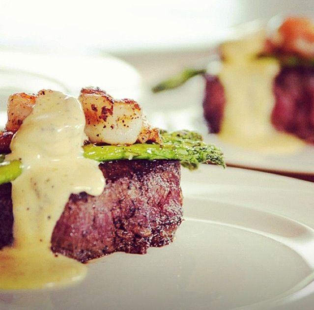 Pioneer Woman's Steak Oscar with mushroom pilaf and chocolate brandied pots de creme